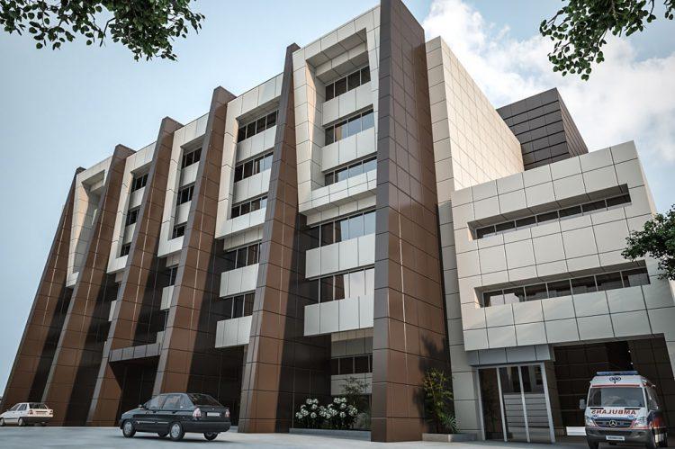 طراحی و نظارت بر پروژه نمای ساختمان شماره 3 بیمارستان شهدای تجریش